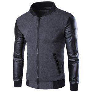Elegant Bomber Jacket Leather Sleeves-1