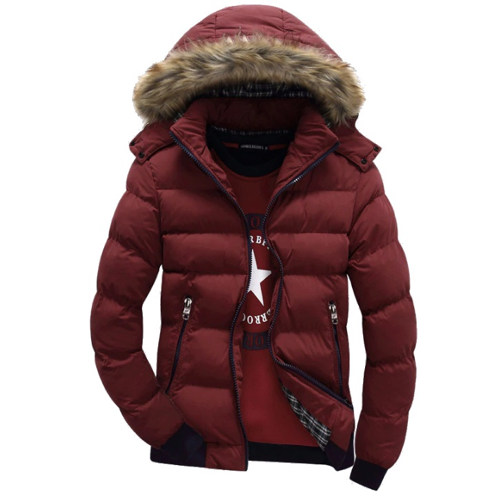 Mens fur hood parka coats