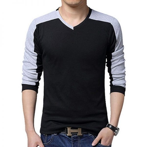 Mens Casual Cotton T-shirt V-Neck-1