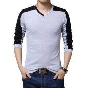 Mens Casual Cotton T-shirt V-Neck-2