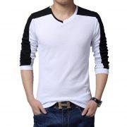 Mens Casual Cotton T-shirt V-Neck-3
