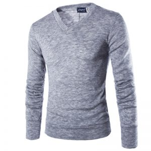 Slim Men'S Sweater With V-Neck-1