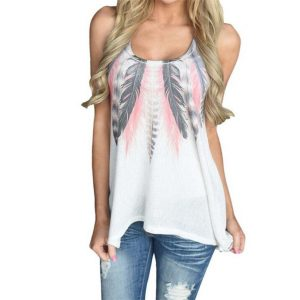 Casual Women'S T-Shirt Feather Printed-2
