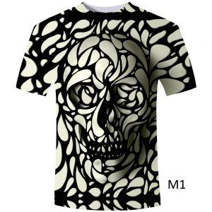 Mens T-Shirt 3D Print Skull