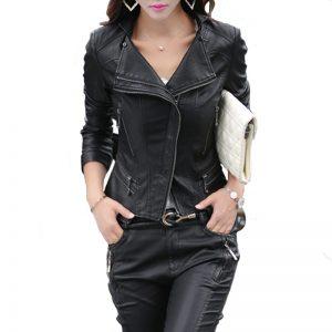 Women'S Leather Slim Jacket-2-2-1