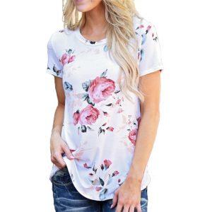 Women'S T-Shirt Flower Printed-1-1