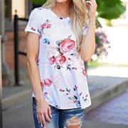 Women'S T-Shirt Flower Printed-2