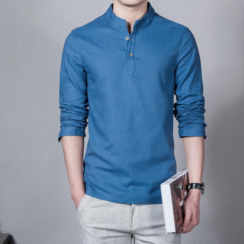 Summer casual men linen shirt for Mens summer linen shirts