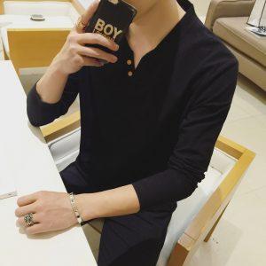 Casual Men T-Shirt V-Neck Tee-2