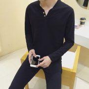 Casual Men T-Shirt V-Neck Tee-5