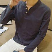 Casual Men T-Shirt V-Neck Tee-7