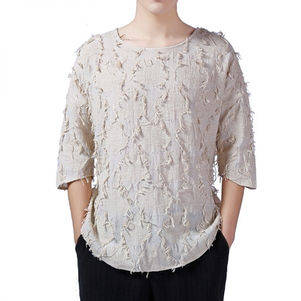 Luxury Men'S linen T-Shirt With Loose Sleeves-1-0