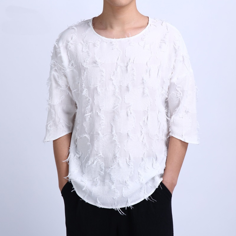 Luxury men 39 s linen t shirt with loose sleeves for Luxury mens t shirts