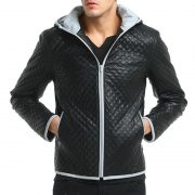 Jacket Zipper Hood Leather