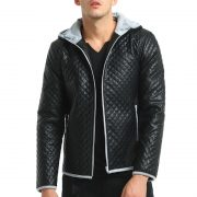 Jacket Zipper Hood Leather-5
