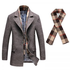 Thick Man'S Trench Coat and Scarf