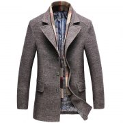 Thick Man'S Trench Coat and Scarf-4