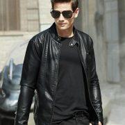 Casual Leather Fleece Jacket -1