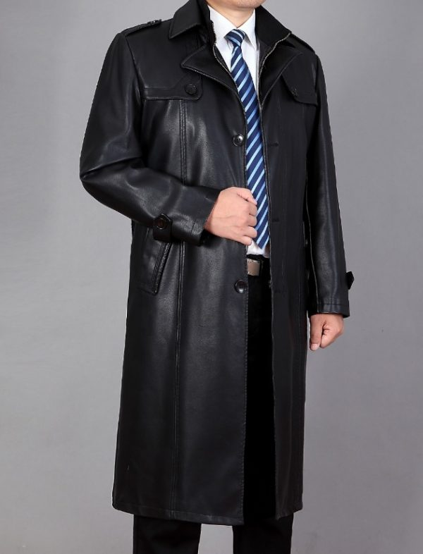 Genuine Leather Long Trench Coat