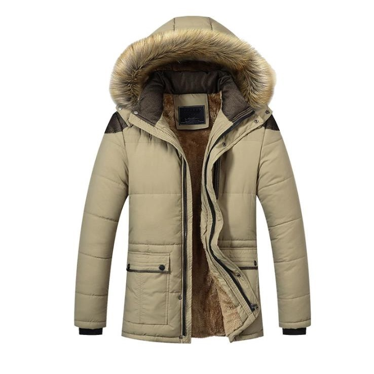 Mens Khaki Parka With Fur Hood