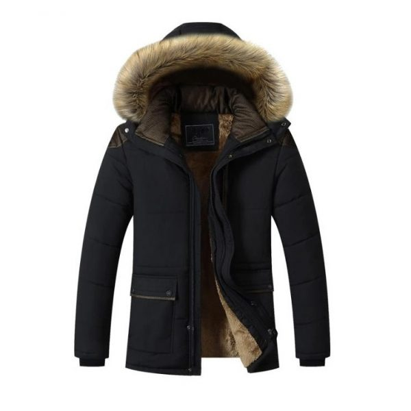 Men's Fur-Hooded Winter Parka Jacket